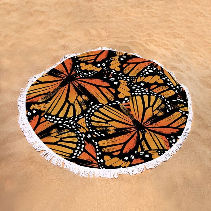 Monarch Butterfly Pattern | Round Beach Towel | by Eclectic at HeART