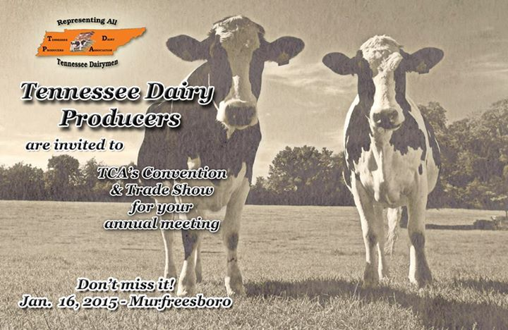 Attention Tennessee dairy producers! Your annual meeting will take place at our convention in Murfreesboro on Jan. 16, 2015. There is a schedule of the events in the January issue of the Tennessee Cattle Business or you can find it here:http://media.wix.com/ugd/1e1cac_20df6ae03d704e998aa8c11e938b705f.pdf   We look forward to seeing you all there!