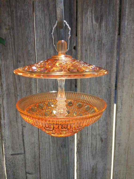 vintage glass bird feeder orange garden decor - Orange Garden Decor