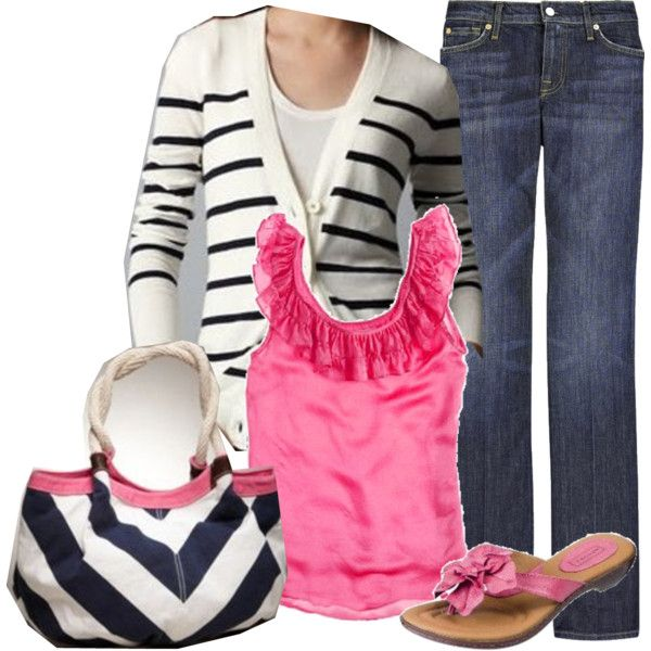 Navy stripes & hot pink (Not loving the sweater so much)