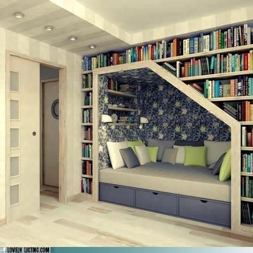 This is FANTASTIC. All the bookcases PLUS a comfy reading nook: Bookshelves, Idea, Stairs, Books Shelves, Reading Nooks, House, Books Nooks, Booknook, Readnook