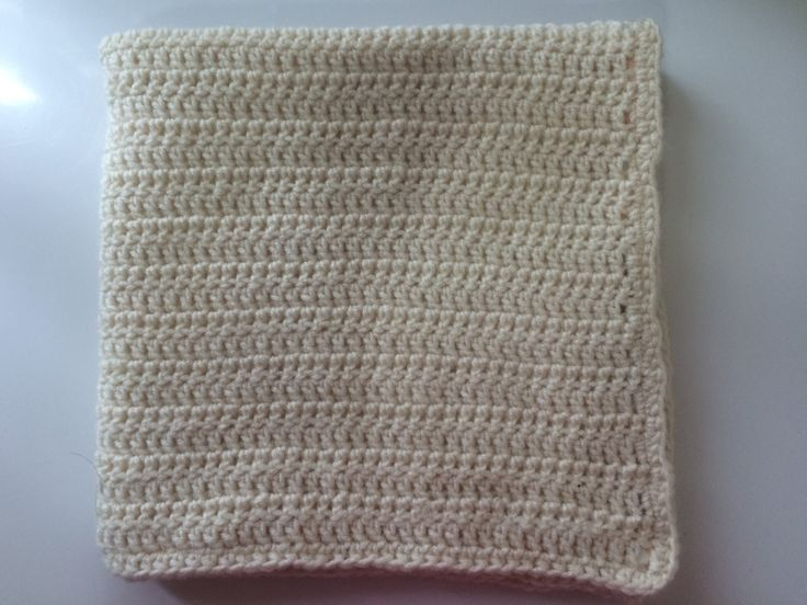 Neutral Baby Blanket Crocheted Fabric Lined 30x30