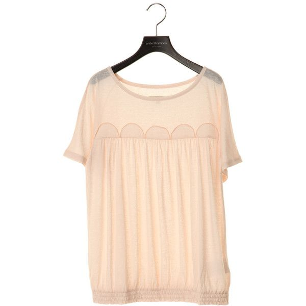 nuan+ : united bamboo / ユナイテッド バンブー:Women:HALF CIRCLE PATCH TOP ❤ liked on Polyvore featuring tops, blouses, shirts, t-shirts, patch shirt, united bamboo, beige shirt, beige top and beige blouse