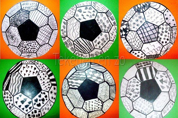 Voetbal, met Chinese inkt en patronen
