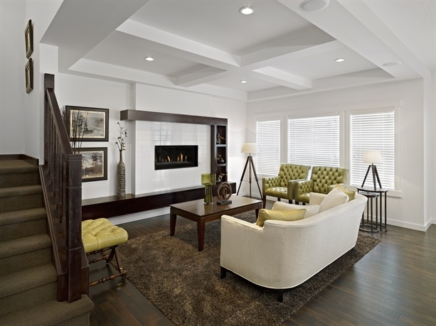 Homes By Avi - White fireplace with floating ledge & shelving