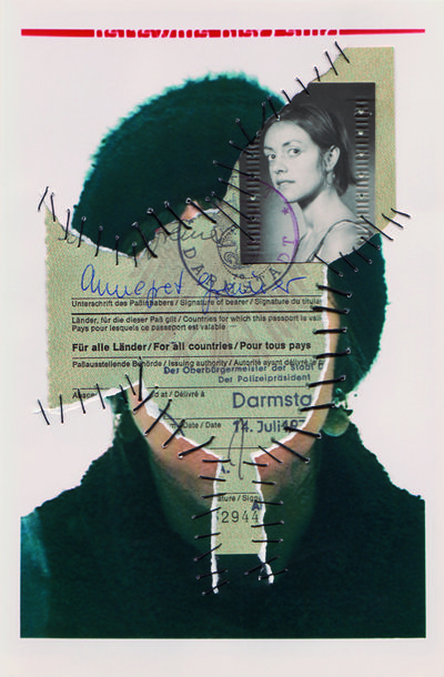 Reisepass. Personal Identity 2003-14. Self-portraits with sewn-in original documents, birth certificate, SIM cards.