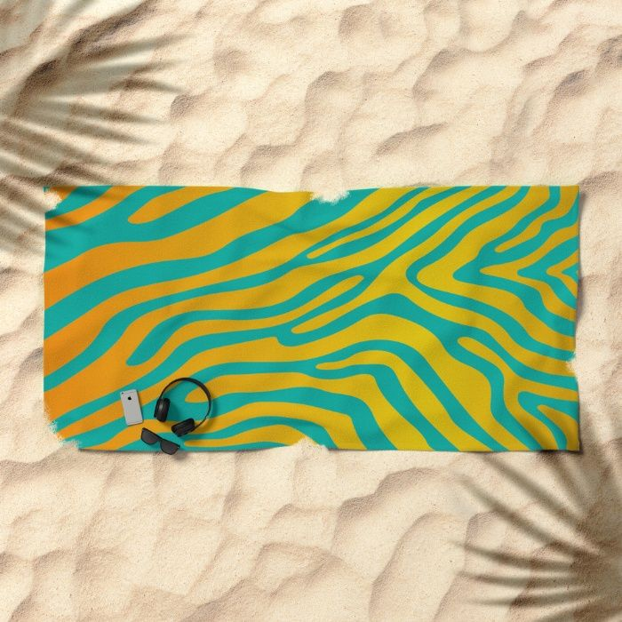 Summer Zebra: Sunrise Beach Towel by REALITY Studios | Society6