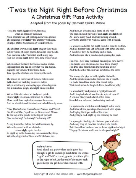 'twas the night before christmas gift pass activity right left free printable