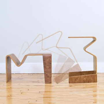 $90fab   $129 retail price  Students, Minimalists and small space dwellers: The Tre Table is set to simplify your life with its curvy contours and compact versatility. A great piece if you live in tight quarters (or love smart and simple furniture), this multi-purpose bent-plywood design func