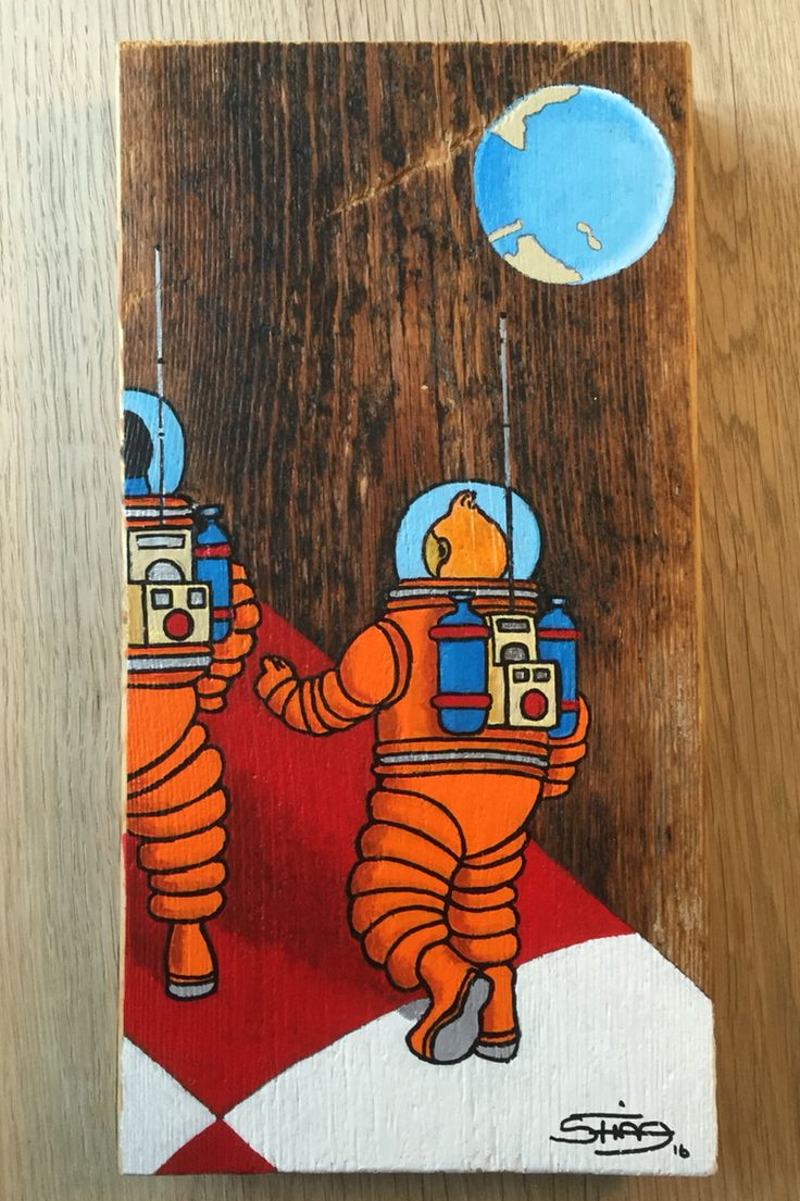 TinTin painted on old Wood. How i see Them in space.  #tidmand.  Steen Tidmand