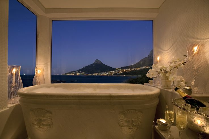 The presidential suite #Bathroom at the #Luxurious Twelve Apostles Hotel and Spa in Cape Town.  Book you holiday with us:  www.mtbeds.co.za
