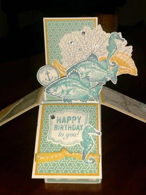 Michelle Johnstone independent Stampin up demo - card in a box with By The Tide and Eastern Elegance DSP