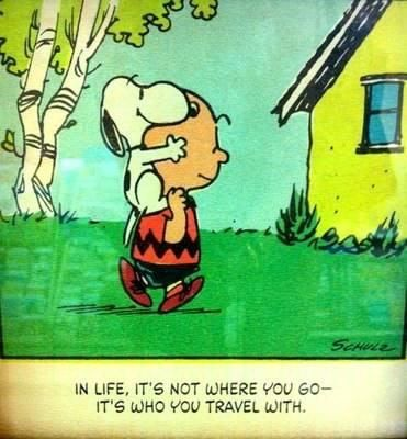 Snoopy and Charlie Brown. Travel quote.