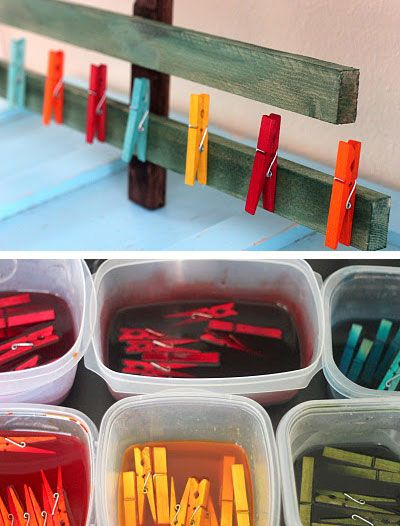 DIY - Dyed Clothespins - RIT Dye Tutorial.. For color coded organizing in the home. I say.. YES!