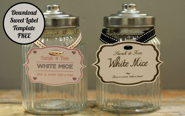 FREE Template ~ Sweet Buffet / Candy Jar Tags. Make Your Own Personalised Tags www.theweddingofmydreams.co.uk