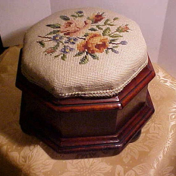 Antique Ladies Slipper Foot Stool. In the Victorian Manner. Dates from about 1890 to 1910 . Eight sided in I believe Mahogany, Top is needle point that is newer (30 Years ago) made by a dear lady well into her nineties. Stands 7 1/2 tall and 10 across. On three bun feet, All in all in good order for its age. You must expect some nicks and marks it is over 100 years old. We polished it out the best we could and touched up as needed. Then added a fine French polish at the end. Some very sm...