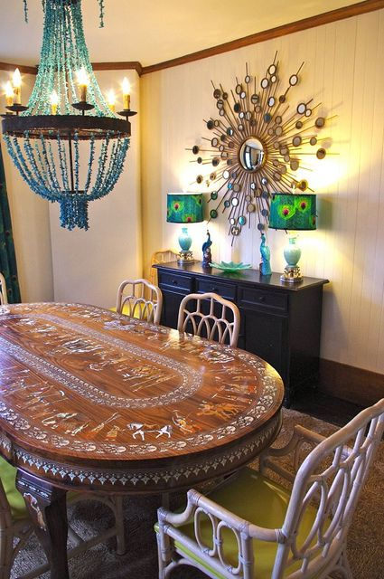 Those peacock lamps are amazing apartment design for Peacock dining room ideas