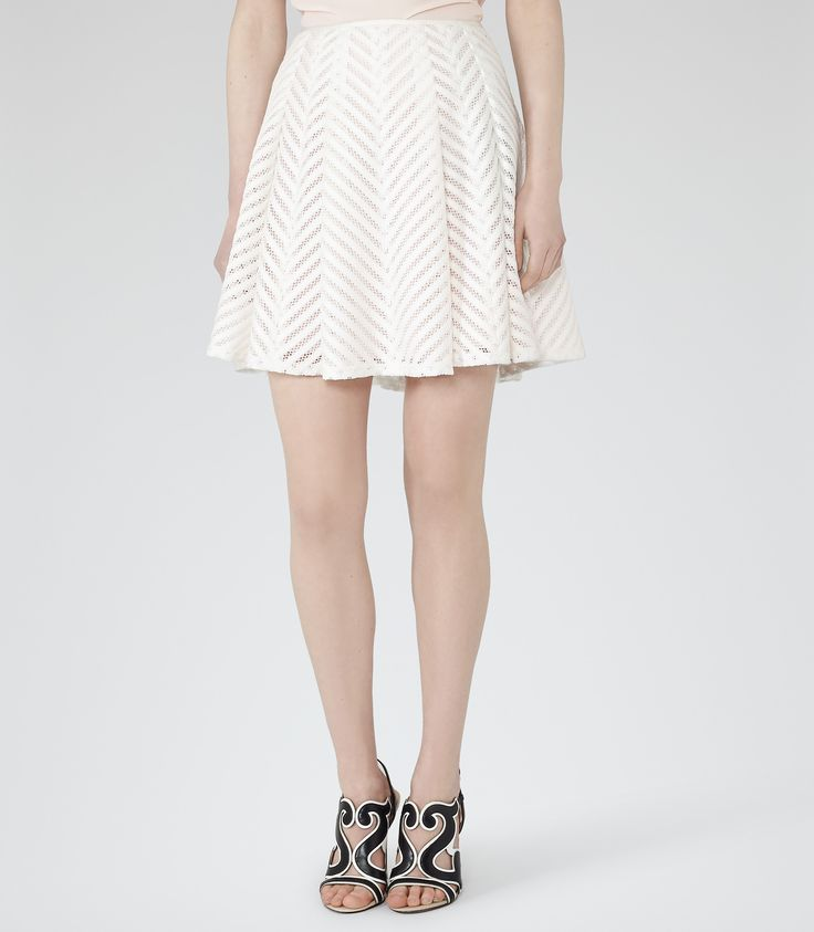 Womens White Mesh-detail Mini Skirt - Reiss Anra