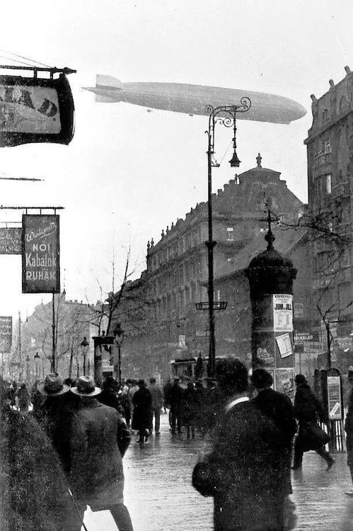 Zeppelin over Budapest, Hungary, 1931; for an idea of what it would have been like in London 1915