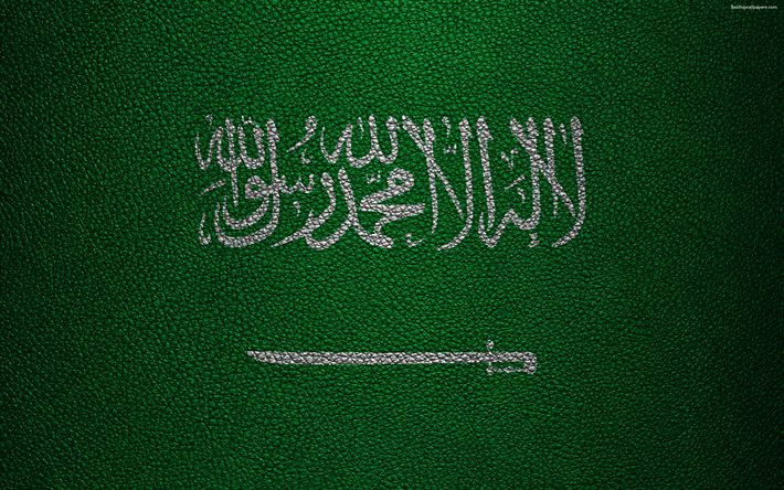 Download wallpapers Flag of Saudi Arabia, 4K, leather texture, Asia, world flags, Saudi Arabia