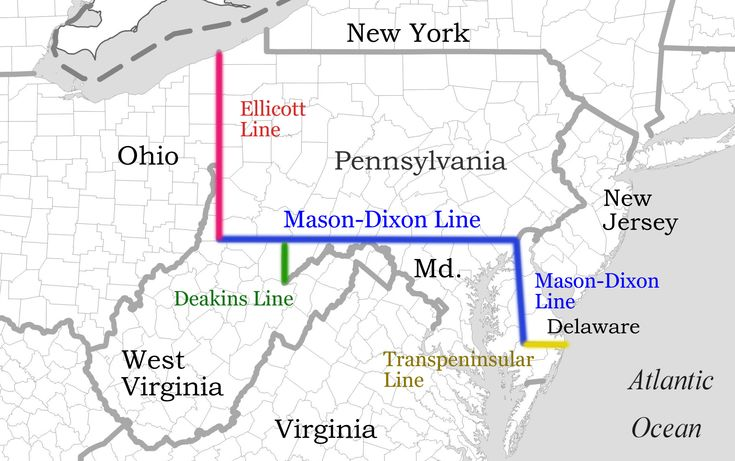 Mason Dixon Line East Coast Maps And Aerials United States - 1861 us map mason dixon line