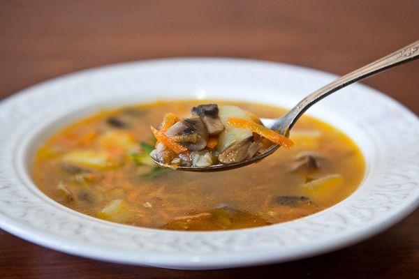 Суп грибной с гречкой