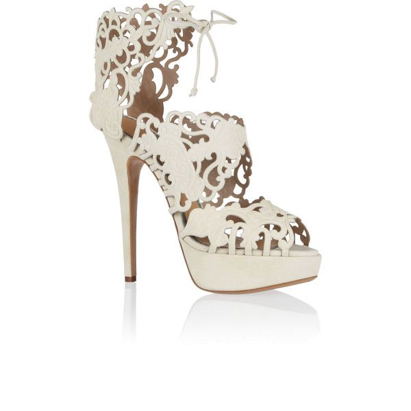 Charlotte Olympia - Belinda Cutout Suede Sandals ($582) ❤ liked on Polyvore featuring shoes, sandals, ivory, suede sandals, high heel platform sandals, high platform shoes, ivory sandals and high heel shoes