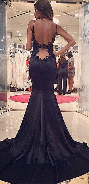 lace drop waist satin black gown