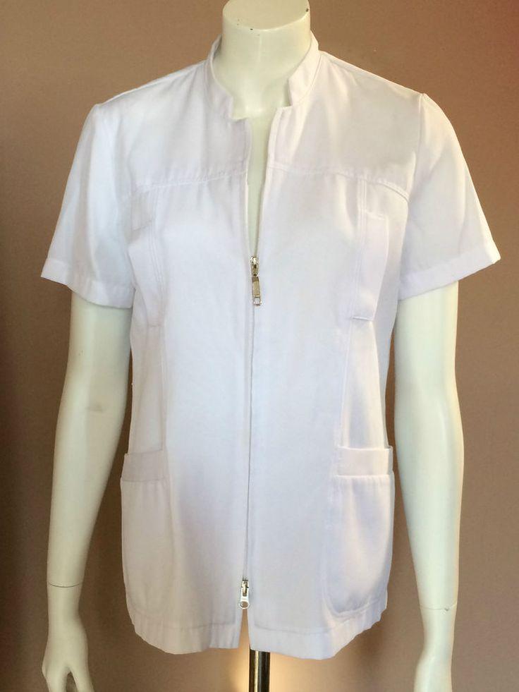 Lab Coat WHITE CROSS White Woman Size 10 Nurses Aestheticians Short Sleeves