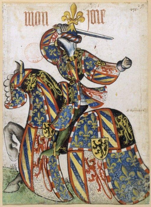 Duc de Bourgogne, Petit armorial équestre de la Toison d'or MS Clairambault 1312, Fol. 265, ~1460-70