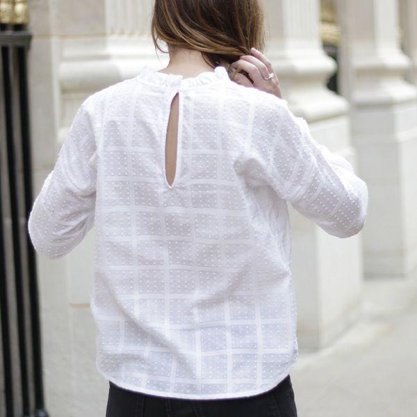 #blouse #top #plumetis #white #volants #checks #madeinfrance
