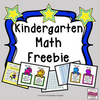 Kindergarten math freebies: number lines, 100 square, math center task cards and an addition game.