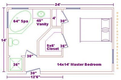 Master bedroom 14x24 addition floor plans with master for Best master bathroom floor plans