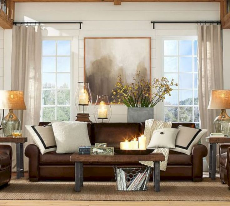 Awesome 61 Stunning Brown Leather Living Room Furniture Ideas. More at https://trendecor.co/2017/10/01/61-stunning-brown-leather-living-room-furniture-ideas/
