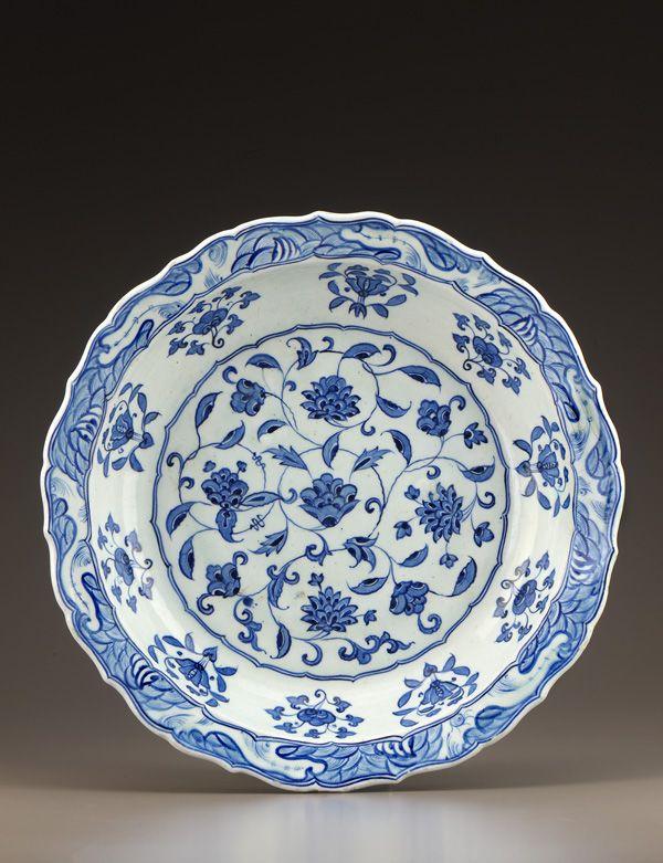 Plate 1525-35 Ottoman period Stone-paste body painted under glaze H: 8.2 W: 39.2 D: 39.2 cm Iznik, Turkey