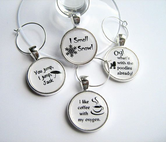 Gilmore Girls Quotes... Set of 4 Glass Wine Charms