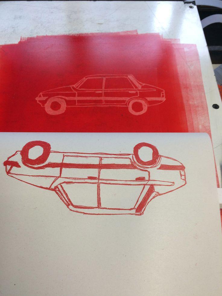 #monoprint #red #fordcortina #scratch #ink #illustration