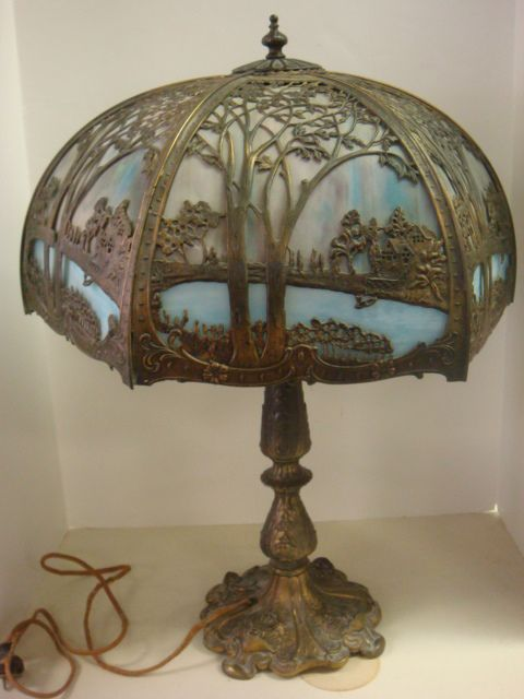 Slag Glass Table Lamp With Bronze Scenic Overlay: : Lot 0024