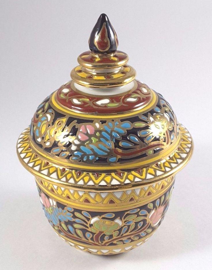 Porcelain Paint Pottery Bowl Benjarong Thai Handmade Enamel Vintage Tea Decor BK