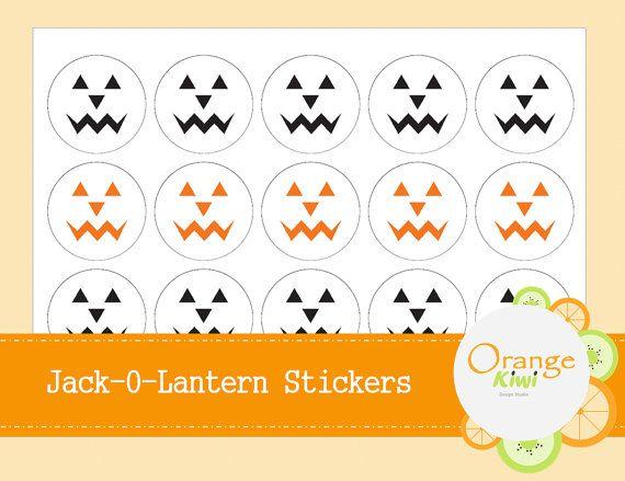 Jack-O-Lantern Stickers  Halloween Gift Tag by OrangeKiwiDesign