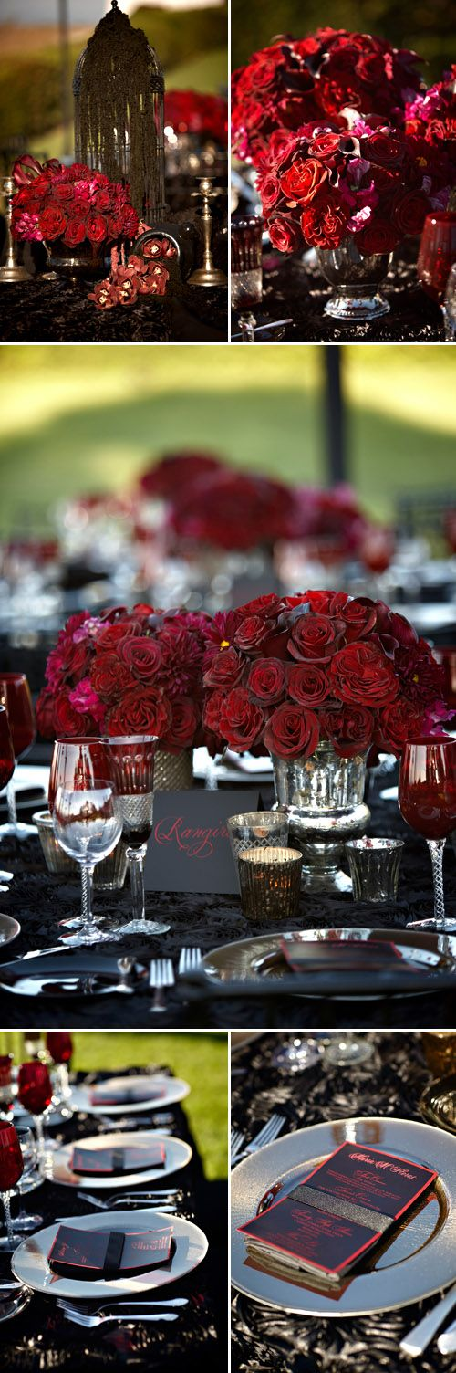 Hues of red and black add dramatic touches to wedding reception, Miki & Sonja Photography