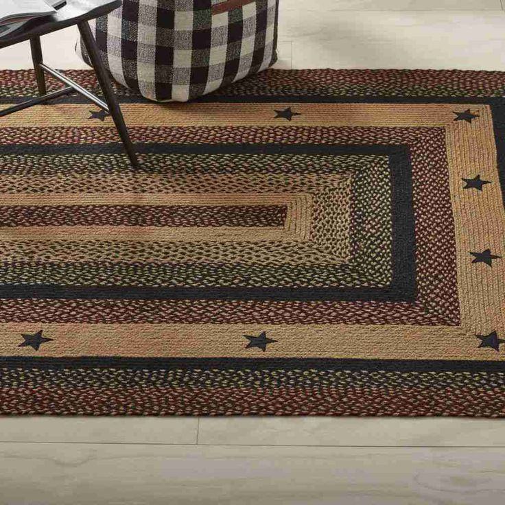 IHF Vintage Black Star Braided Area Rugs Jute Primitive Oval Rectangle 4 x 6  #IHFRugs #Braided