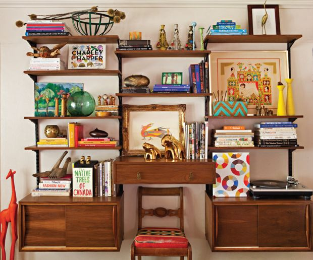 Justina Blakeney's custom mid-century style wall unit full of colorful finds (COTTAGES & BUNGALOWS MAGAZINE, PHOTOGRAPHY BY BRET GUM): Spaces, Interiors Style, Diy Crafts, The Angel, Cottages And Bungalows, Interiors Design, Blakeney Jungalow, Blakeney These, Justina Blakeney