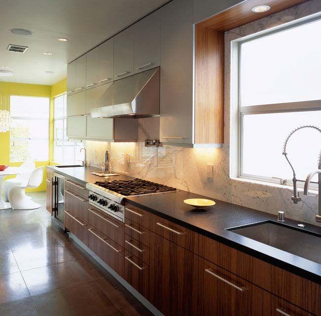 Inspiring Interior Designs to Décor Your Kitchen : Contemporary Interior Kitchen Design With Steel Wastafel And Wooden Floor Cabinet Decorat...