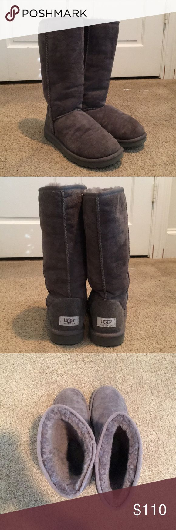 Tall Grey UGGS (Classic II Tall Boot) Worn several times during one winter, but in perfect used condition! Really warm, just not quite my style. Any markings you might see in the photos are just fingerprints in the suede— there are no stains or permanent markings on them! Please let me know if you have any questions, and feel free to make reasonable offers! UGG Shoes Winter & Rain Boots