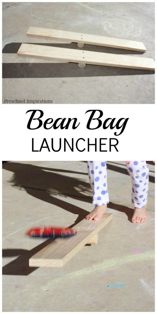DIY Bean Bag Launcher from Preschool Inspirations. This is a great gross motor activity or a perfect outdoor activity.