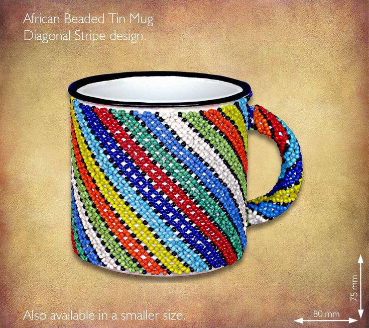 African Beaded tin mug - Zulu Diagonal stripe design. Traditional African Beadwork handmade in South Africa by highly skilled Zulu Beadworkers. Wide range of African Beadwork designs available on our website www.earthafricacurio.com