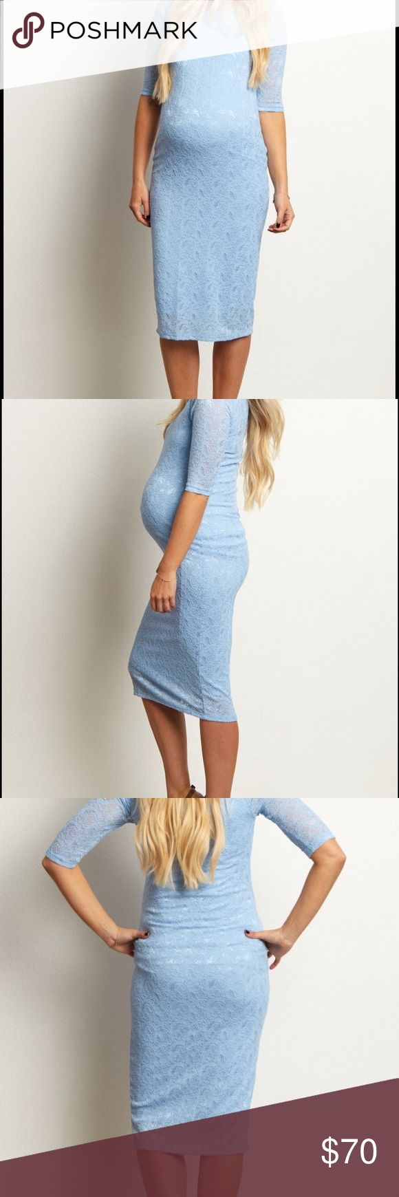 Powder blue lace maternity dress NEVER WORN Perfect for an evening out, this fitted lace maternity dress is flexible for any occasion. Pair with a classic heel and statement necklace to look and feel amazing all night long. Pinkblush Dresses
