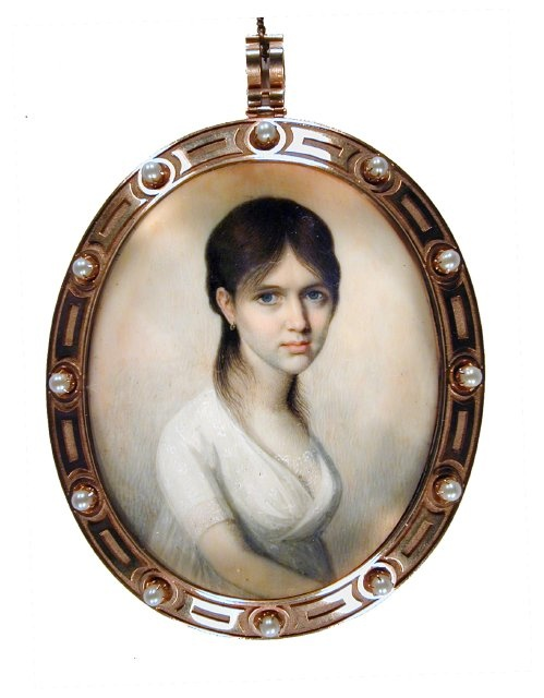 Sophia Jane Withers (Mrs. Abraham Crouch)  ca.1805  Artist: unknown American  watercolor on ivory  Gibbes Museum of Art