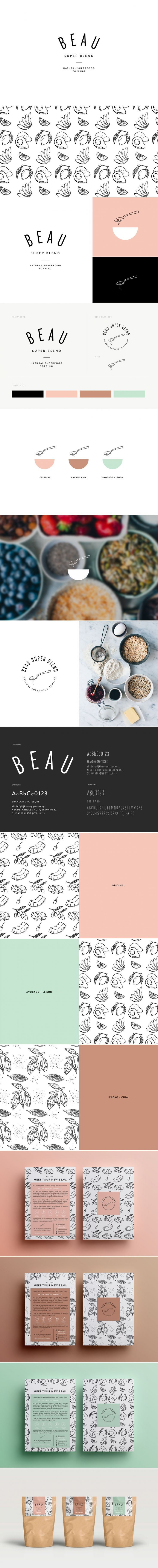 Brand identity, packaging, custom illustrations, and print collateral by Chelsey Dyer for natural foods company 'Beau Super Blend' based in Germany. The soft hues in combination with the hand-made illustrations compliment the use of natural products nicely. The choice of simple typography also helps to emphasise the company values of utilising simple, healthy ingredients further.: